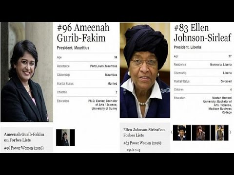 Two African presidents among Forbes 100 most powerful women in 2016