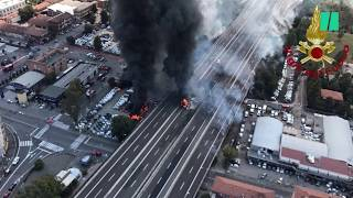 A Bologne, l'accident d'un camion-citerne provoque une énorme explosion