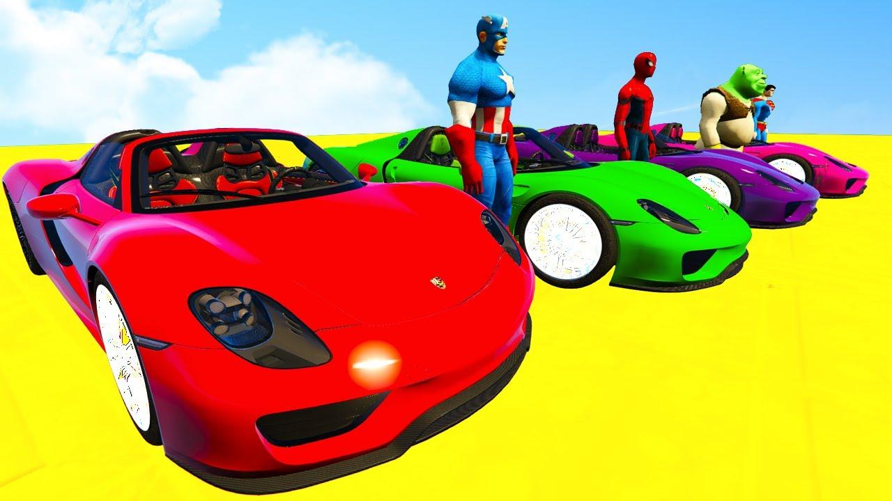 Learn Colors Cars Sport Race Superheroes Cartoon Nursery Rhymes Spiderman For Kids