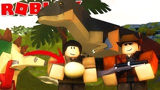 Jurassic Park (Roblox)-building park, first dinosaur?! -(#1) (Gameplay EN-BR)