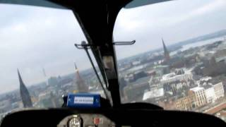 Rescue Helicopter Flight Cockpit View Hamburg BUKH-Hafencity