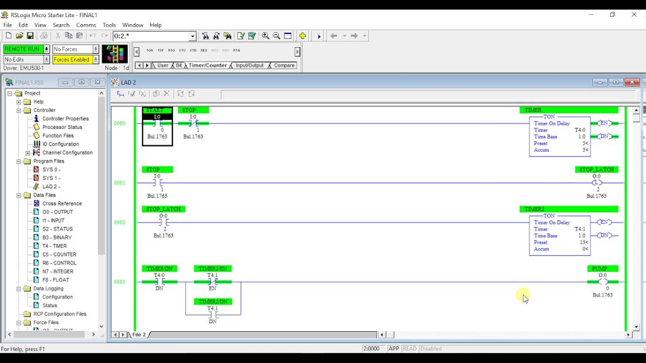 Water Pump Model Design In Rslogix Plc Programming Ladder