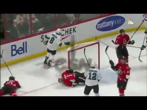 San Jose Sharks vs. Ottawa Senators 12-14-16 Joe Pavelski GOAL