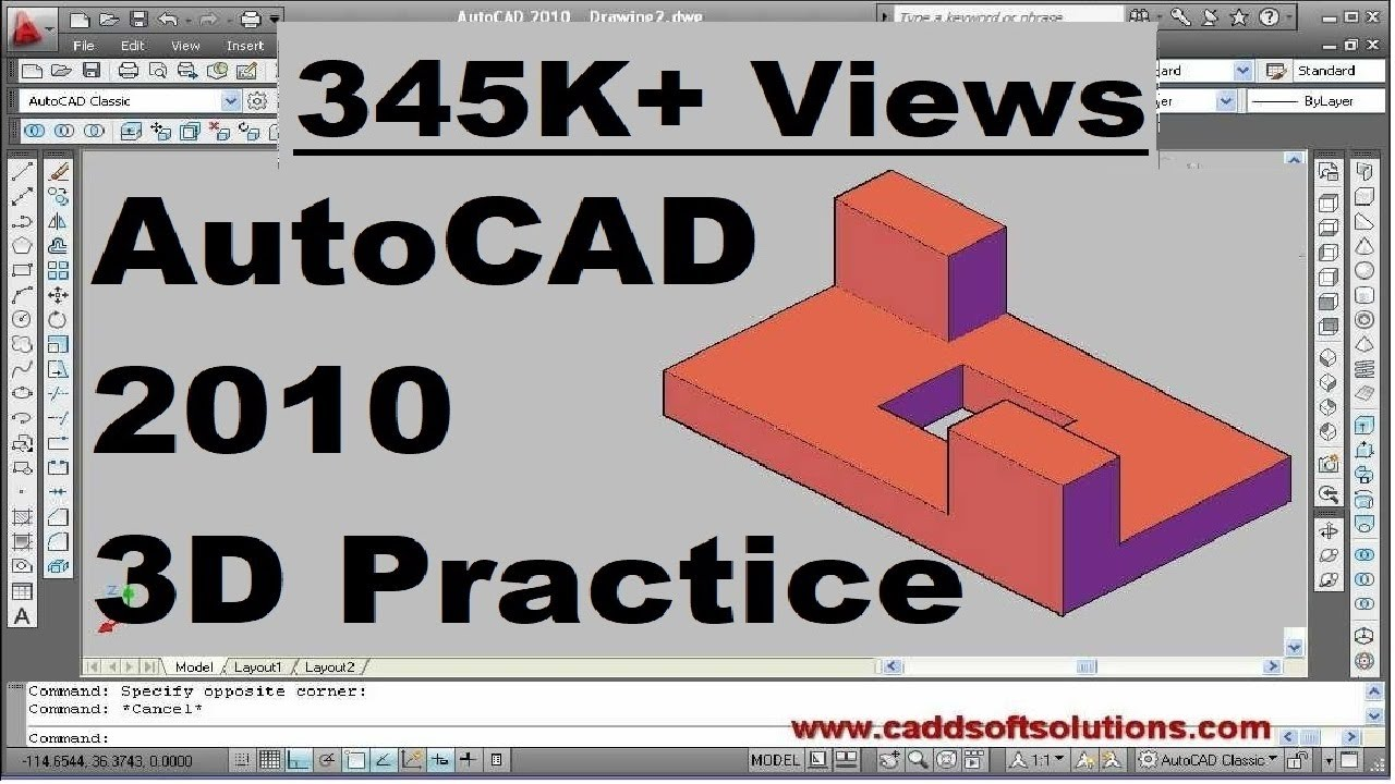 Autocad 3d Beginner Video Tutorial Create First 3d Object 15