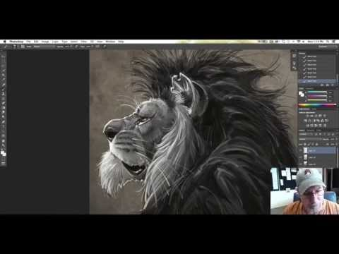 A time lapse lion character done in Photoshop CC on a Wacom Cintiq 22
