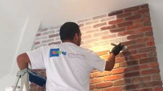 Whitewashing a Brick Fireplace in La Jolla CA - Chism Brothers Painting