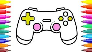 Gamepad Controller Coloring Pages | How to Draw Game Controller & Learn Colors #ColoringPainting -16