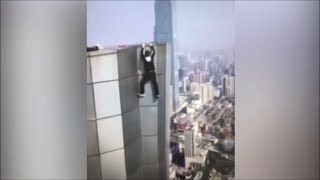 Caught on Tape: Chinese daredevil falls 60 Stories @Hodgetwins