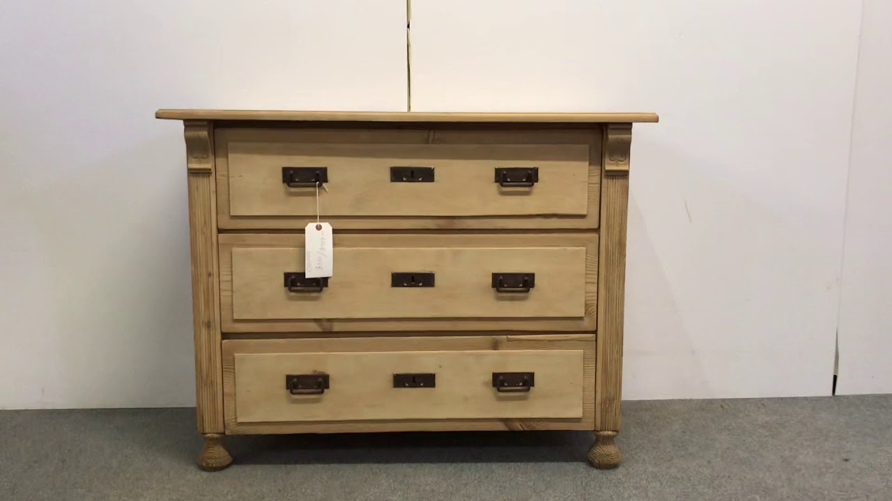 3 Drawer Antique Pine Chest Of Drawers