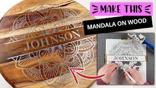 VINYL ON WOOD CUTTING BOARD   How To Create A Split Monogram Mandala In Cricut Design Space