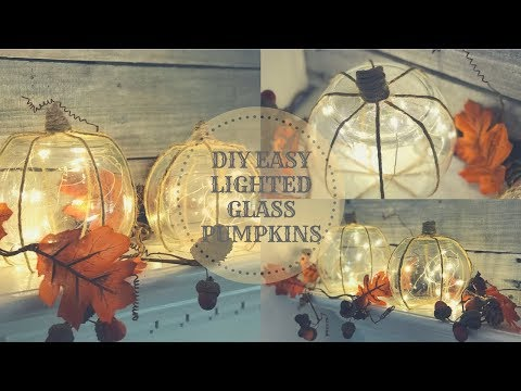 DIY DOLLAR TREE LIGHTED GLASS PUMPKINS|EASY FALL DECOR
