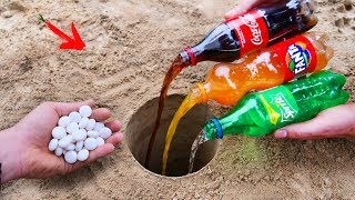 Experiment : Cola, Fanta, Sprite and Mentos Underground
