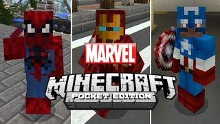 Marvel Superheroes in Minecraft Pocket Edition!!! (MarvelCraft Add-On)