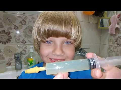 Как промывать миндалины шприцом в домашних условиях видео