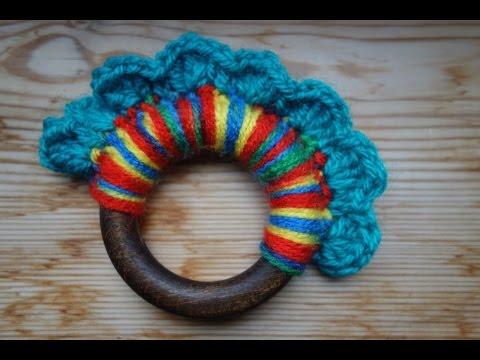 Crochet Wool and Wood Teething Ring