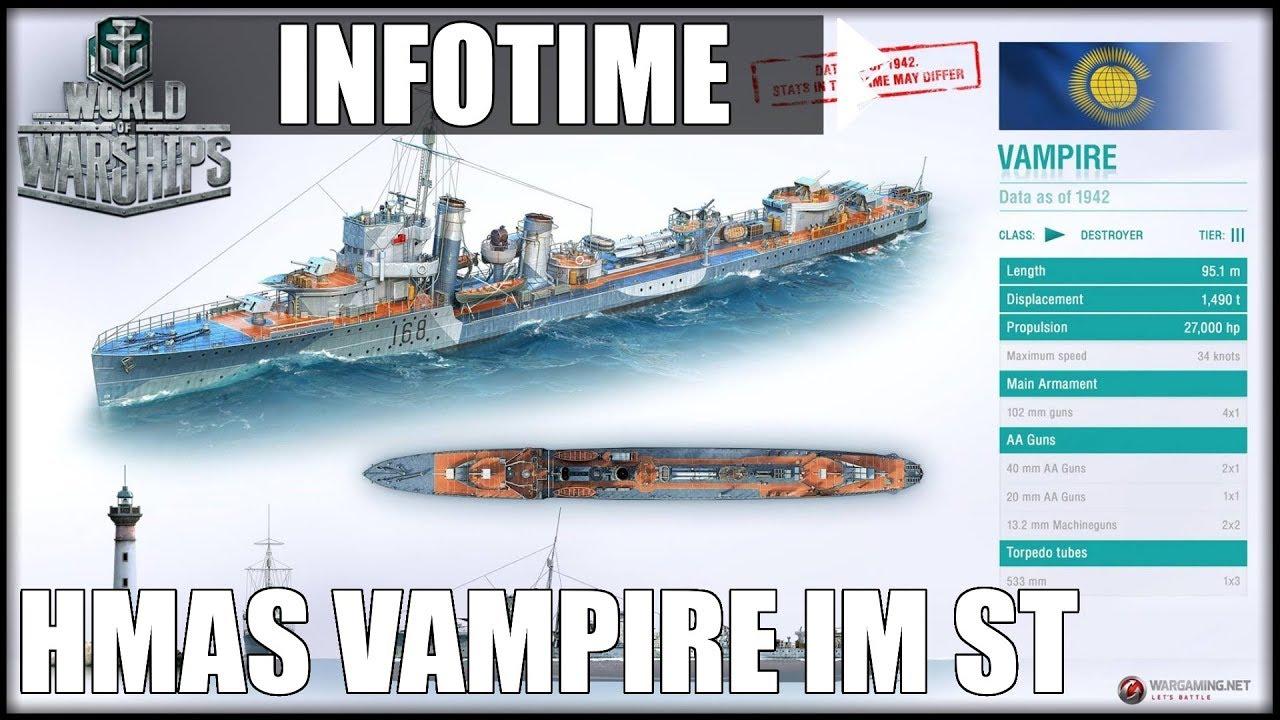 HMAS VAMPIRE im Supertest mit STATS - World of Warships | [Info] [DE]  [60fps]