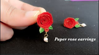 How to make paper rose/paper quilling rose earrings/diy paper rose/quilling rose