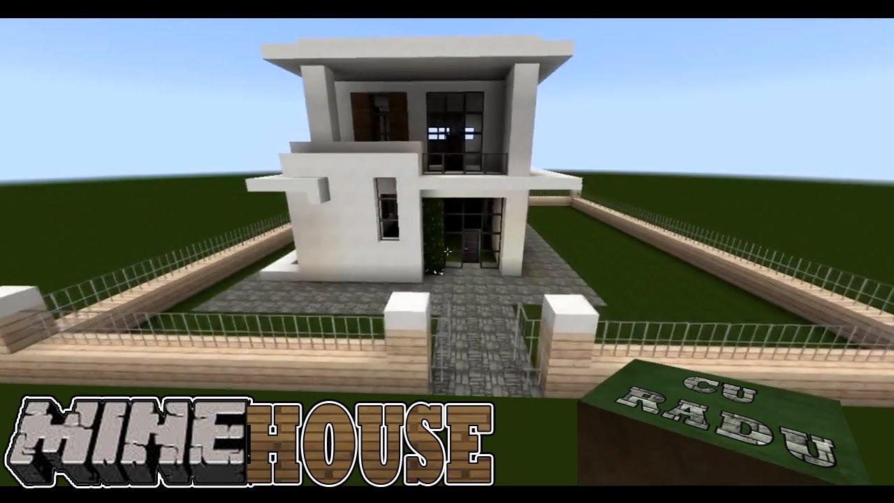 Minehouse casa moderna mica partea 1 hd tutorial youtube for Minecraft case moderne