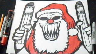 - как рисовать Санта Клаус Клоун граффити