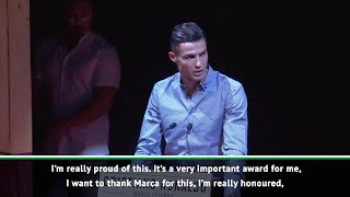 Cristiano Ronaldo gives his thanks after winning Marca Legend award
