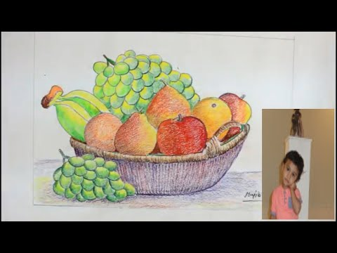 How TO DrawFruits basker [Still Life] Step By Step  And Color It/Draw Still Life/Fruits Basket/2