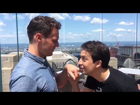 Lin Manuel Miranda and Jonathan Groff singing SATISFIED