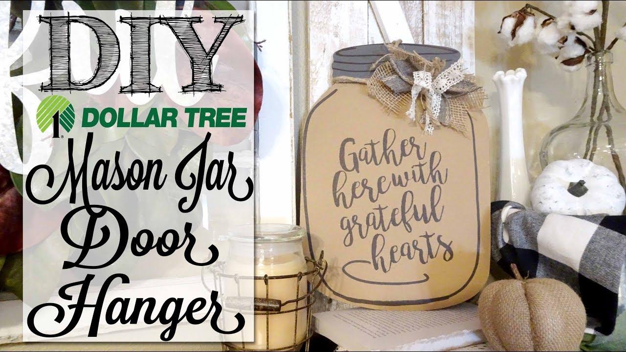Diy Dollar Tree Mason Jar Door Hanger Youtube