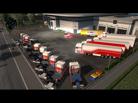 MEGA CONVOY WITH COURTZ CARRIERS! / ETS2 / TMP / TRIPLE SCREENS / T300 / TH8A