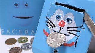 Facebank Piggy Bank Makeup and Cutting Open