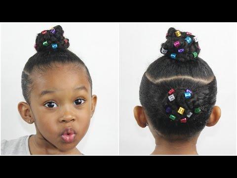 Two Braid Buns w/ Hair Cuffs | Natural Hairstyles for Kids