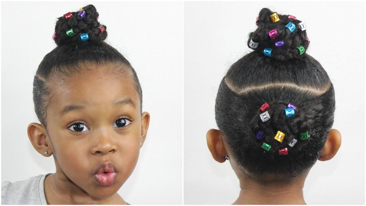 Two Braid Buns W Hair Cuffs Natural Hairstyles For Kids