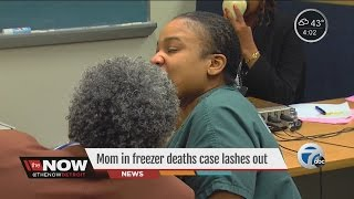 Mom of kids found in freezer escorted out of court after outburst