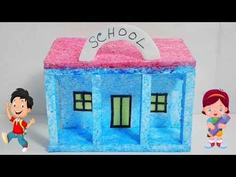 How to Make a Small Thermocol House | Model | School | Best School   Project for Kids (DIY)
