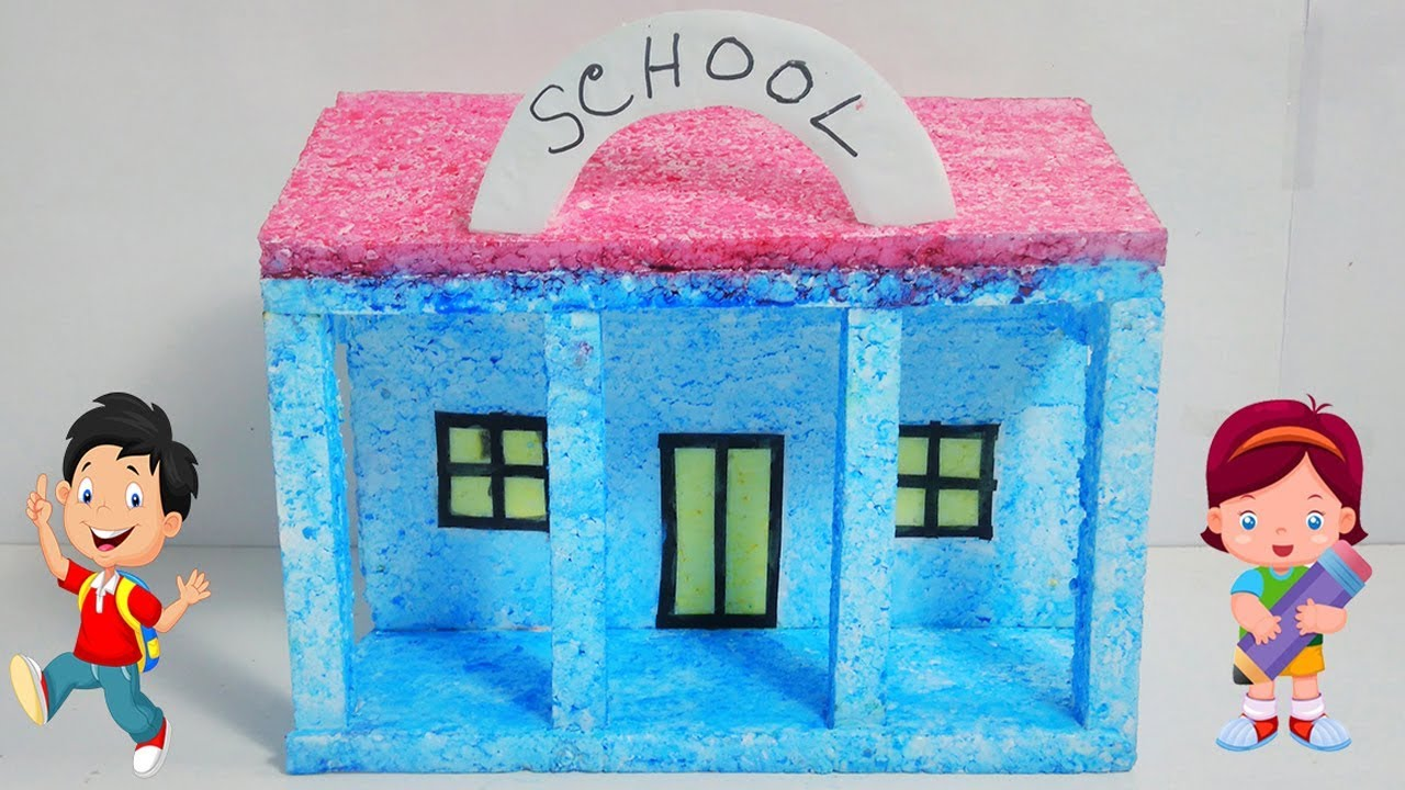 Citaten School Project : How to make a small thermocol house model school