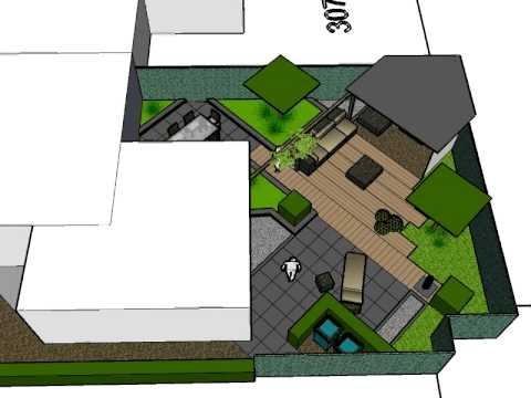 Moderne diagonale voor en achtertuinen 2 onder 1 kap for Tuinontwerp schuine lijnen
