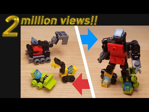 [LEGO Mini Robot Tutorial] Combiner Transformer Mech - (similar with Devastator)