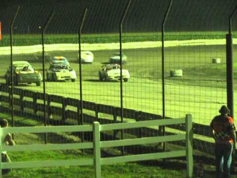 8-23-13 IMCA stock car feature wreck Lee county speedway