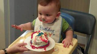 Baby Ben Eating Cake on his 1st Birthday