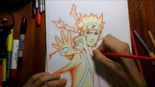 Dibujando a Naruto modo sabio de los 6 caminos. Drawing Naruto Sage of the six