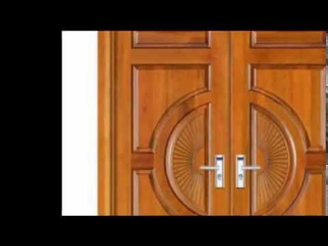 Kerala style wooden double door designs youtube for Window palla design