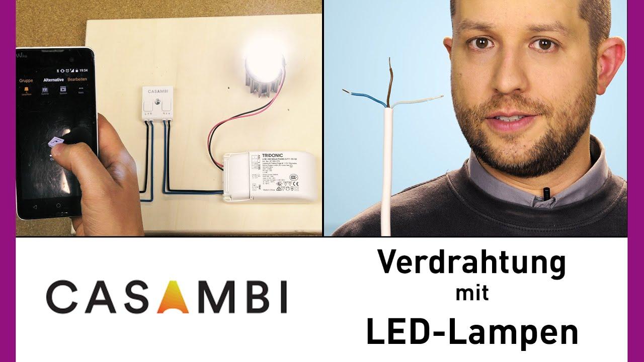 Casambi Lichtsteuerung - Verdrahtung mit LED-Lampen Tutorial - YouTube