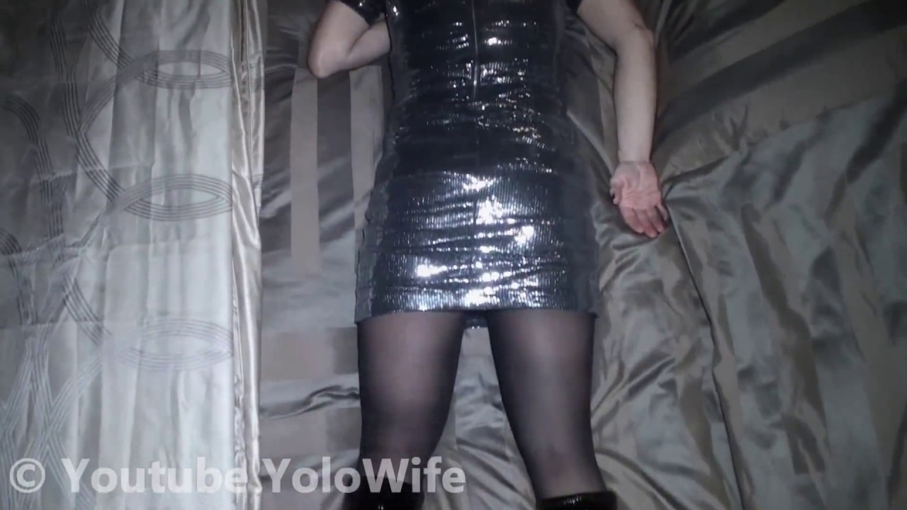 Wife Dressed Up In Super Shiny Silver Dress Pvc Boots And