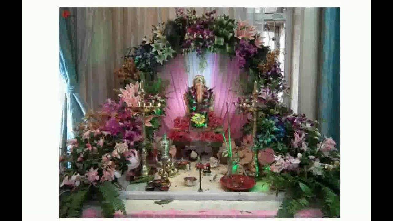 Ganpati mandap decoration with flowers for Artificial flower decoration for ganpati