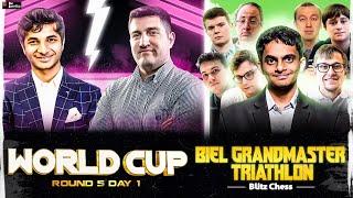 FIDE World Cup 2021 Round 5.1 | Vidit vs Durarbayli | Nihal at Biel Triathlon