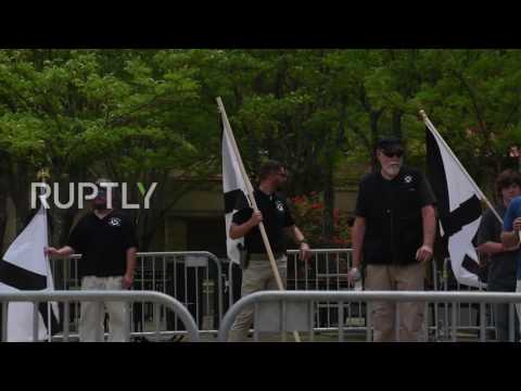 USA: Swastika-tattooed nationalists face off against protesters in Kentucky
