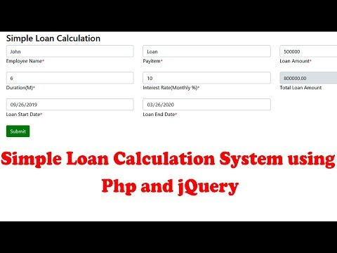 Simple Loan Calculation System Using  Php And JQuery