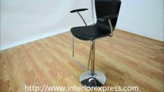 Interiorexpress Metro Black Leather Adjustable Swivel Bar Stool