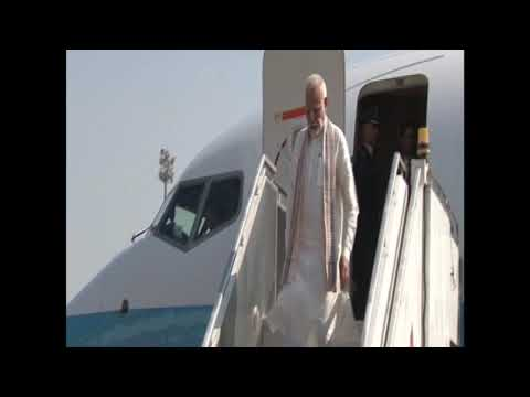 PM Narendra Modi arrives Ahmedabad airport on three days Gujarat visit