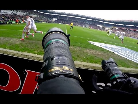 GoPro POV behind the scenes with football photographer at the Copenhagen Derby soccer match Vol. II