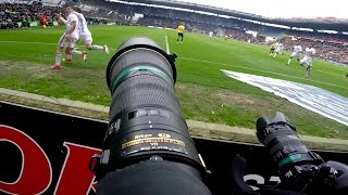GoPro POV behind the scenes with football pographer at the Copenhagen Derby soccer match Vol. II